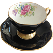 REDUCED Foley Bone China Rose and Tulip Bouquet Black Teacup and Saucer