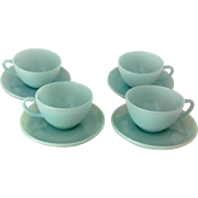 Anchor Hocking Fire King 1950s Turquoise Blue Cups and Saucers - Set of Four