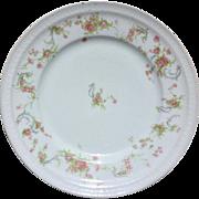 SALE Haviland Limoges France Pink Roses Blue Scrolls Dinner Plate Schleiger 57