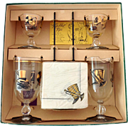 Libbey Mid Century Glass Top Hat Cocktail Set for Two in Original Box