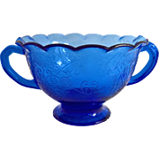Hazel Atlas Florentine Number 1 Poppy Cobalt Blue Depression Glass Ruffled Sugar Bowl