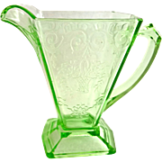 Indiana Lorain Basket Green Depression Glass Creamer and Sugar