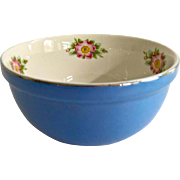 Hall China Royal Rose Cadet Blue and White 6-1/4 Inch Small Mixing Bowl
