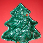 Lefton 'Green Holly' Tree Shaped Candy Dish