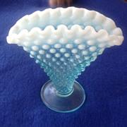 REDUCED Fenton Hobnail Blue Opalescent Small Fan Vase