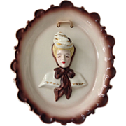 SALE Florence Ceramics Cameo Plaque with Plumes Down