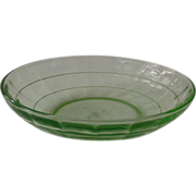 SOLD Hocking Block Optic Green Depression Glass Cereal Bowl