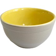 Hall China General Electric 1930s Refrigerator Ware Gray and Yellow Leftover Bowl