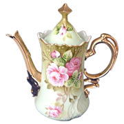 REDUCED Lefton China Green Heritage Roses Coffee Pot NE 3065