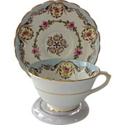Tuscan Bone China Light Blue Cup and Saucer Rose Medallions Gold Trim