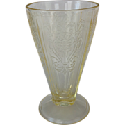 REDUCED US Glass Primo Paneled Aster Yellow Depression Glass Footed Tumbler