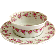 Early 1900s Limoges France Bawo and Dotter Elite Works Bridal Wreath Ramekin and Underplate fo