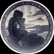 Royal Copenhagen Monochromatic Blue 1918 Commemorative Peace Plate