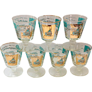 Libbey Southern Comfort Set of Seven 22K Gold and Aqua Riverboat Stemmed Cocktail Glasses circ