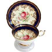 Paragon China Cobalt Blue and Gold with Roses Double Warrant Teacup and Saucer