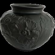 Tiffin Poppy 1930s Black Amethyst Satin Glass Vase