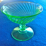 REDUCED Imperial Twisted Optic 313 Depression Glass Green Sherbets - Set of Six!