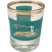 Libbey Southern Comfort  22K Gold and Aqua Riverboat Jigger Measuring Double Shot Glass circa