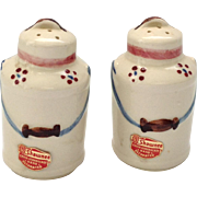 Pair 1940s Shawnee Milk Can Salt and Pepper Shakers with Original Label