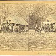 Jonesboro, Maine Camp Webster Log Cabin Stereoview by Lane