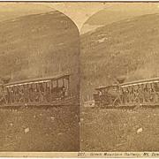 Mt Desert, Maine Green Mountain Railway Train Stereoview by Bradley*