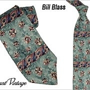 SALE Funky 1970's Bill Blass Tie - Retro Floral/Roses  4""