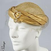 SALE Vintage 1940s Lame Juliette Cap Hat  *Rhinestones & Gold Lame Mesh