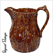 19th C Bennington Rockingham Pitcher *Boar & Stag Hunt