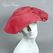 SALE 1950's Hot Pink Faux Fur Hat *Ribbons, Rhinestones