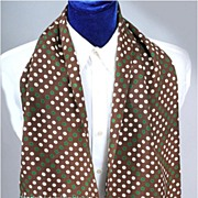 SALE Vintage 1940's Men's Scarf * Polka-Dots