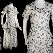 Vintage Art Deco 1920s Black White Print Lawn Scarf Dress * Sm