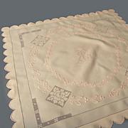 SALE Vintage Apricot-Peach Linen Tea Cloth / Centerpeice *Embroidery, Drawnwork, Monogram