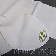 SALE 10 pc Monogram White Linen Mats & Runner * DHU