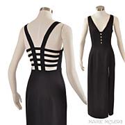SALE Vintage Sexy Black Dress Gown - Betsy & Adam  S / M