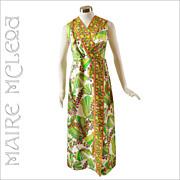 SALE 1960's Tropical Floral Long Dress - L