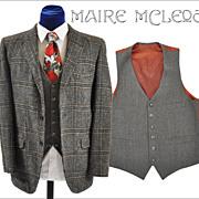 SALE Vintage Herringbone Wool Vest Waistcoat - 36-37