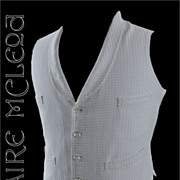 1880's Men's Victorian  Blue/White Woven Waistcoat - Glass Buttons - 36-38