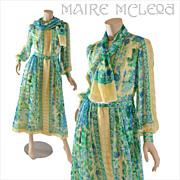 SALE Vintage 1970's Floral Silk Chiffon Dress  S / M