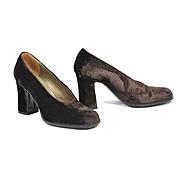 SALE Yves Saint Laurent 1970s Velvet Stacked Heels  6.5 - 7