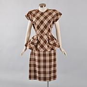 SALE Iconic 1940's Check Plaid 2 pc Dress Suit - S / M