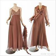 SALE 70s Chiffon Maxi Dress, Sequins & Crop Jacket, Jack Bryan S