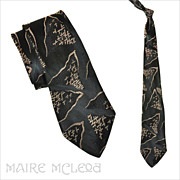 1940's Black & Ivory Silk Brocade Men's Tie 3""