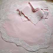 SALE PENDING Finest Vintage Madeira Pink Placemats / Naps Embroidered/Applique