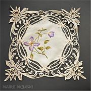 SOLD Blue Flower Vintage Society Silk Embroidery & Battenberg Lace Centerpiece