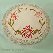 SALE Spider Mums Vintage Society Silk Embroidery w/ Lace