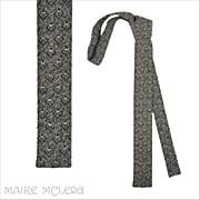 "1960's Flat Bottom Skinny Tie, Black/White Weave 1-1/2"""