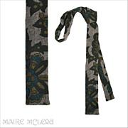 "1960's Flat Bottom Skinny Tie, Exotic Motif 1-1/2"""