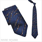 "1940's Tie // Vintage 40s Navy Abstract Brocade Tie 3-1/2"""