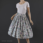 SALE 1950's Skirt // Vintage 50's Skirt - Soft Colors  S/ M