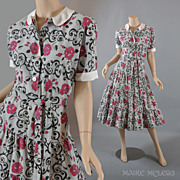 SALE Vintage New Look 1950's Day Dress - Flounced Skirt - S